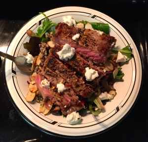 Steak salad with goat cheese in soy vinaigrette